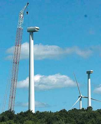 Wind turbine under construction, Eagle, NY