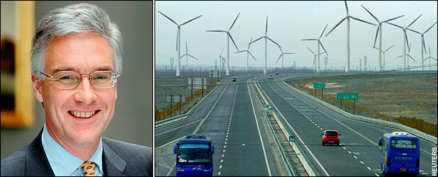 Wind turbines situated next to motorways in China