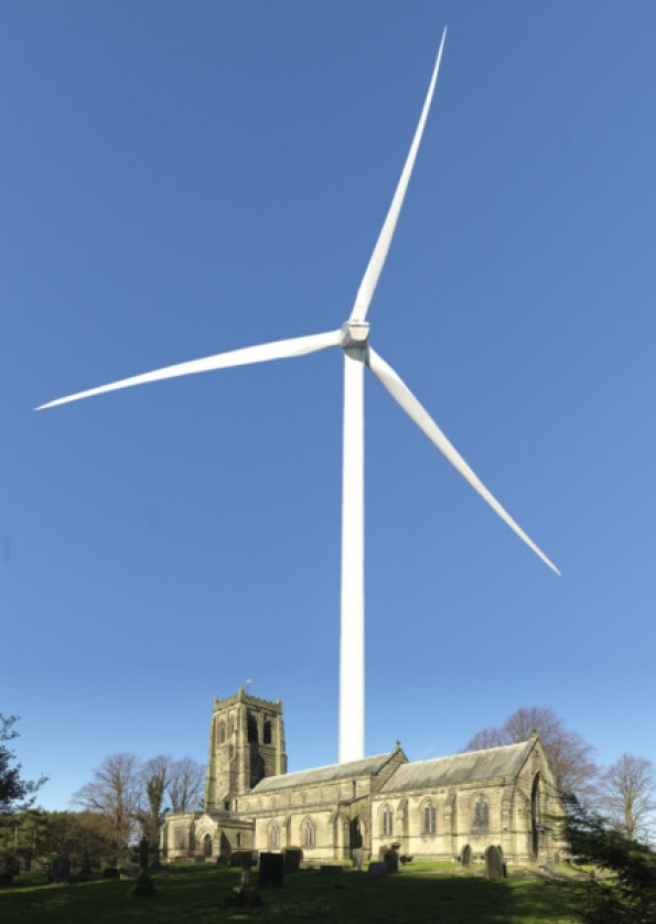 An artists impression of a turbine, behind St Marys Church, Stannington.