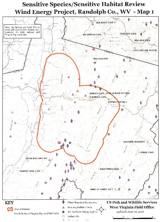 Sensitive Species - Sensitive Habitat Review, WInd Energy Project, Randolph Co., WV - Map 1