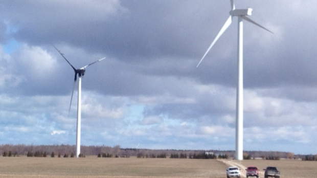 A wind turbine caught on fire near Goderich, Ont., on Tuesday, April 2, 2013. (Scott Miller - CTV London)