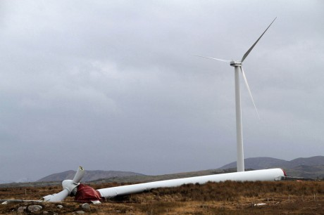 The wind turbine which fell near Ardara.