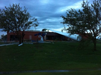 Wind Turbine blade takes out daycare/playground. Canadian Valley Tech, El Reno, OK. No injuries reported
