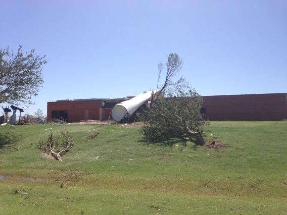 """That's there, not sure where other 2 ended up""- maintenance guy on turbine blade sent into daycare by tornado"