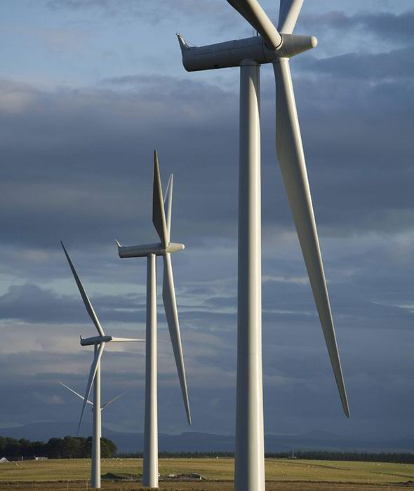 Wind farms sometimes dominate the landscape