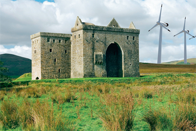 A montage shows how views of Hermitage Castle could look with a new wind farm in place