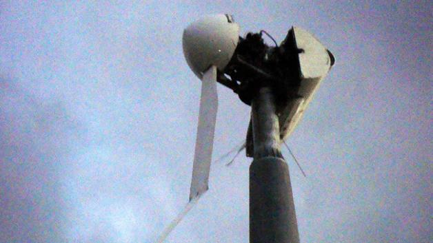 The wind turbine at Dunhobby, shown with a single blade remaining after storms last week