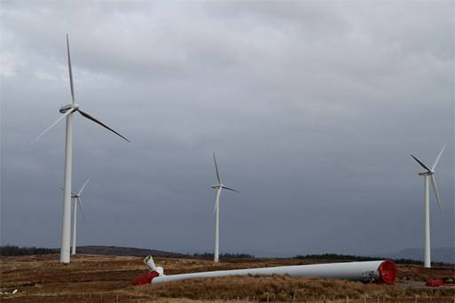 The wind turbine which fell in Ardara, Co Donegal