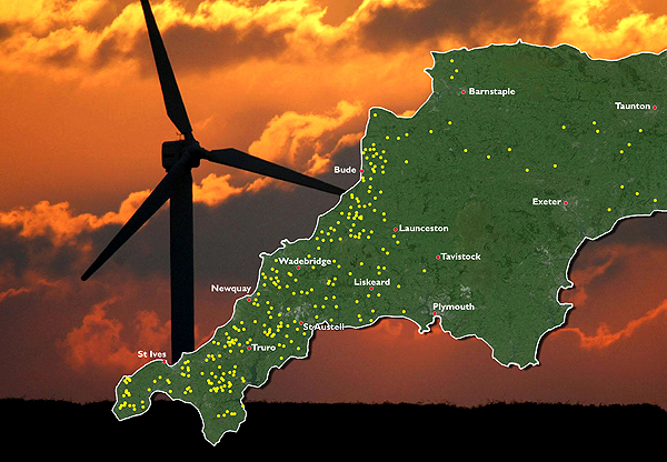 Map 1. Operational wind farms in Devon and Cornwall