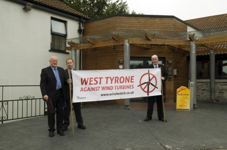 Geoffery Simpson, Owen McMullan and Jim McLaughlin from West Tyrone against Wind Farms hold a protest after being refused entry into a meeting hosted by Renewableuk.