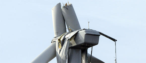 Photo by: The News-Gazette A close-up of a wind turbine blade that broke last November in the California Ridge Wind Farm in Vermilion County.