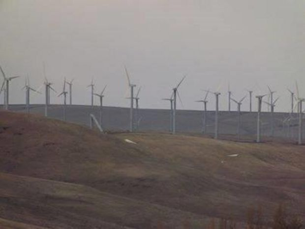 Collapsed wind turbine at Stateline wind farm near Touchet, Washington.