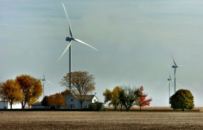 Wind turbines that collect renewable energy, set in a pasture in Van Wert County, Ohio, are visible for miles. Laura J. Gardner/The Journal Gazette, via Associated Press