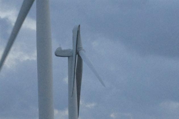 The wind turbine blade has bent back