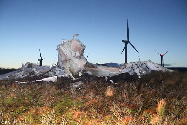 The 262ft tall metal wind turbine collapsed at Screggagh wind farm on Murley Mountain in County Tyrone