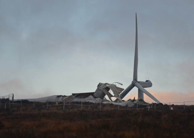 The collapsed wind turbine at Screggagh wind farm, Co Tyrone
