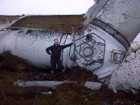 An image posted on Twitter showing the collapsed turbine. Pic Manufacturing NI/Twitter