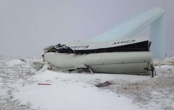 Imagen del molino sobre la nieve cuando se desplomó hace 15 días.
