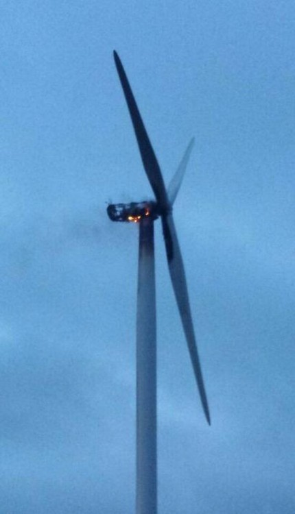 Burning wind turbine on Todmorden Moor
