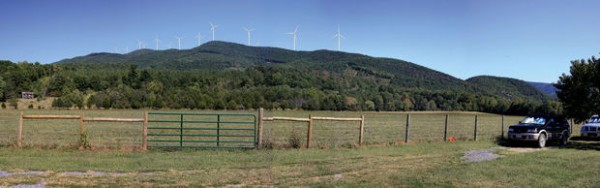 Photo simulation by Apex Clean Energy This simulation shows what the Rocky Forge Wind Farm would look like from the home of Henry Gum, who lives a little more than a mile away from the nearest turbine. Gum said he supports renewable energy and is not concerned about the appearance of the wind farm.