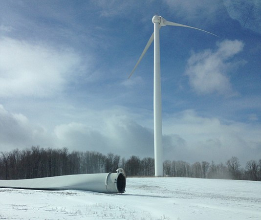 Turbine no. 18 at the Fenner Wind Farm had one of its blades fall off at about 10 a.m. Thursday morning from a probable bolt failure, according to the manufacturer. The 113-foot blade fell straight down and did not hurt any people or damage any property.