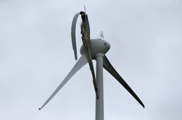 The damaged wind turbine at Meenanilta, Drumkeen. Pic by Declan Doherty
