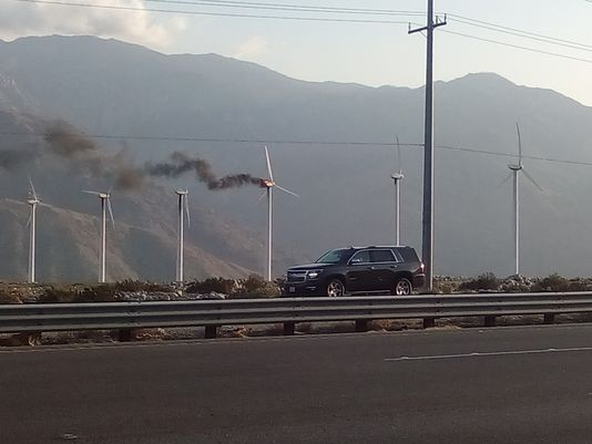A windmill caught fire Friday evening |    (Photo: Vik Jolly/The Desert Sun)