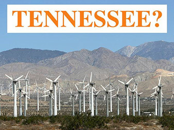 Sen. Lamar Alexander (R-Tenn.) yesterday took to the Senate floor to criticize a proposed wind farm in his home state, using a photo of a similar facility in Palm Springs, Calif., to argue that the giant turbines would mar the natural beauty of the Cumberland Mountains. Photo courtesy of Alexander's office.