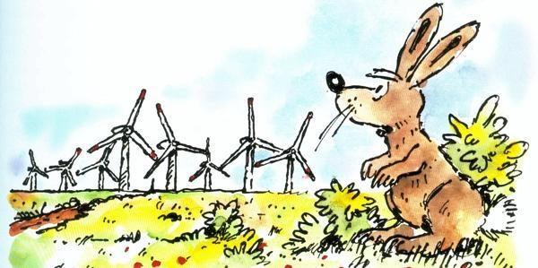 Wenn Tiere flüchten: Der Windpark verändert nicht nur für Hase Löffel das Leben.     Bild: Heinz Glaasker