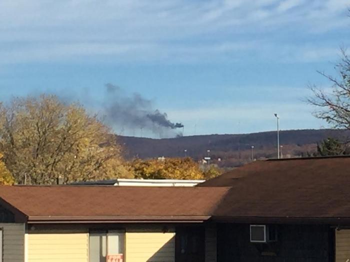 A windmill has caught fire in Bear Creek Township. Bob Kalinowski of The Citizens' Voice.