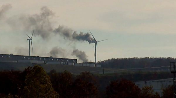 The wind turbine in Bear Creek Township caught fire Thursday afternoon.