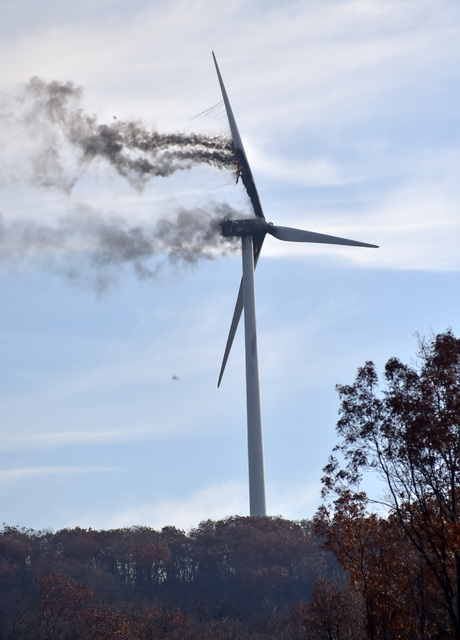 Wind turbine on fire as pictured from Bald Mtn. Road on Thursday. (Pete G. Wilcox|Times Leader)