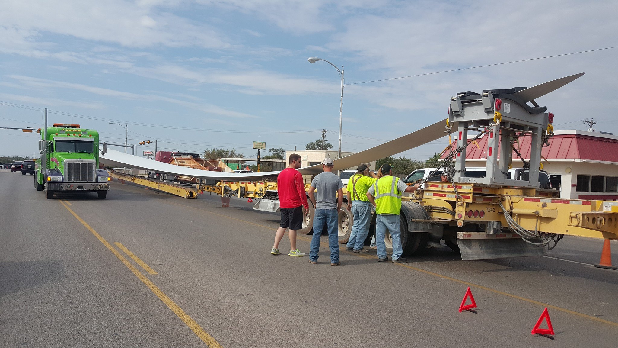 wind turbine blade passes through west texas trailer breaks in half